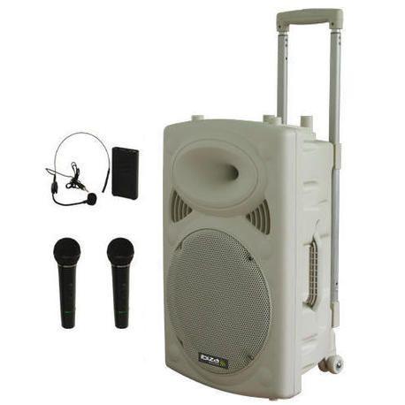 NUEVO IBIZA SOUND PORT15VHF-HAND-WH 3xMIC-VHF 4xCABLES