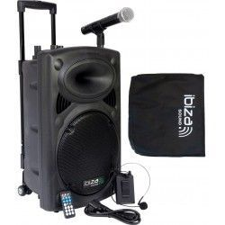 "EQUIPO DE SONIDO PORTATIL IBIZA SOUND PORT12VHF-BT 12"" USB/MP3/BLUETOOTH/FM/REC/VOX 2xMICRS INALAMBRICOS"