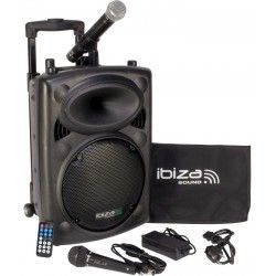 "EQUIPO DE SONIDO PORTATIL IBIZA SOUND PORT10VHF-BT 10"" USB/MP3/BLUETOOTH/REC/VOX 1xMICRO INALAMBRICO+1xMICRO CON CABLE"