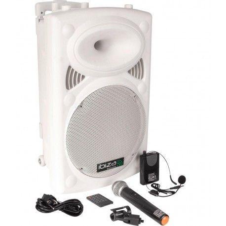 "EQUIPO DE SONIDO PORTATIL IBIZA SOUND PORT12VHF-BT-WH 12"" USB/MP3/BLUETOOTH/FM/REC/VOX 2xMICRS INALAMBRICOS"