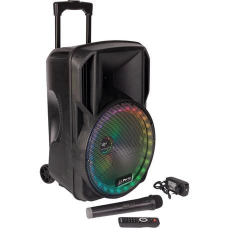 """PARTY PARTY-15RGB ALTAVOZ PORTATIL A BATERIAS 15"""" USB/BLUETOOTH/FM/MICRO VHF/MANDO"""