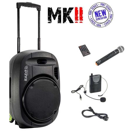IBIZA SOUND PORT12VHF-MKII ALTAVOZ PORTATIL A BATERIAS USB/SD/BLUETOOTH/2xVHF MICS