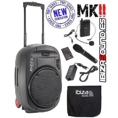 IBIZA SOUND PORT12UHF-MKII ALTAVOZ PORTATIL A BATERIAS USB/SD/BLUETOOTH/FM/2xUHF MICS