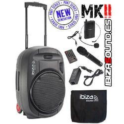 IBIZA SOUND PORT15UHF-MKII ALTAVOZ PORTATIL A BATERIAS USB/SD/BLUETOOTH/FM/2xUHF MICS