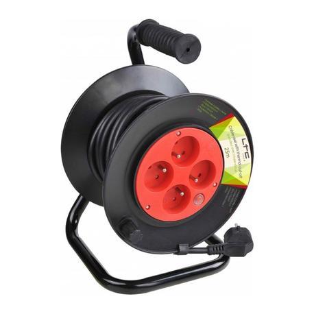 LTC AUDIO CABLE-REEL25M ALARGADOR ENROLLABLE CON 4 TOMAS Y DISJUNTOR - 25 MTS