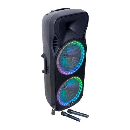 PARTY PARTY-215RGB BAFLE PORTATIL 2 x 15/38cm - 900W CON USB, SD, micro-SD, BLUETOOTH, FM y 2 MICROS UHF
