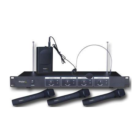 MICROFONO INALAMBRICO IBIZA SOUND VHF4 3xMANO + 1xDIADEMA